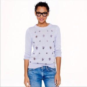 JCrew lavender bejeweled crew neck sweater